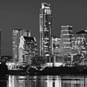 Austin Skyline At Night Black And White Bw Panorama Texas Art Print