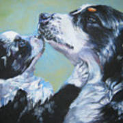 Australian Shepherd Mom And Pup Art Print