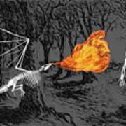 Australopithecus And The Dragon Art Print