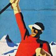 Austria Ski Tourism - Vintage Poster Folded Art Print