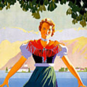Austria, Young Woman In Traditional Dress Invites You, Danube River Art Print