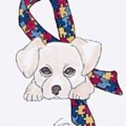 Autism Awareness And Puppy Love Art Print