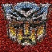 Autobot Transformer Bottle Cap Mosaic Art Print by Paul Van Scott