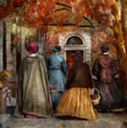 Autumn - People - A Walk Downtown  Art Print