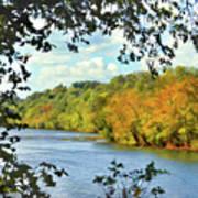Autumn Along The New River - Bisset Park - Radford Virginia Art Print