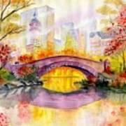 Autumn at Gapstow Bridge Central Park Art Print