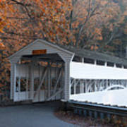 Autumn At Knox Covered Bridge In Valley Forge Art Print by Bill Cannon