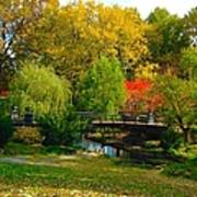 Autumn At Lafayette Park Bridge Landscape Art Print