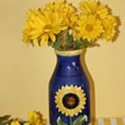 Autumn Blossoms And Blue Vase Art Print