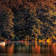 Autumn Boating At Argyle Lake Art Print