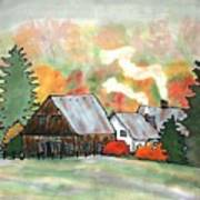 Autumn Chill Silk Painting Art Print