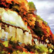 Autumn Cliffs On Way To Hannibal, Missouri Art Print