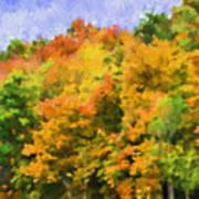 Autumn Country On A Hillside II - Digital Paint Art Print