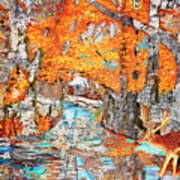 Autumn Deer Birch Background Art Print