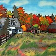Autumn Farmstead Silk Painting Art Print
