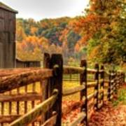 Autumn Fence Posts Scenic Art Print