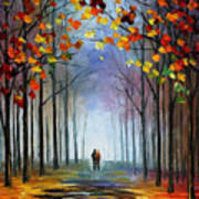 Autumn Fog 4 - Palette Knife Oil Painting On Canvas By Leonid Afremov Art Print