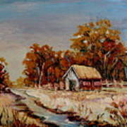 Autumn House By The Stream Art Print