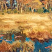 Autumn Landscape With Fox Art Print