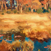 Autumn Landscape With Fox Art Print