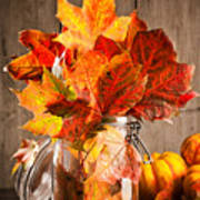 Autumn Leaves Still Life Art Print by Amanda Elwell