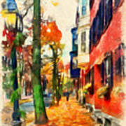 Autumn On The Streets Of Boston Art Print
