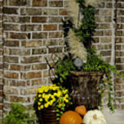 Autumn Porch Scene Art Print
