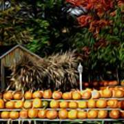 Autumn Pumpkins And Cornstalks Graphic Effect Art Print