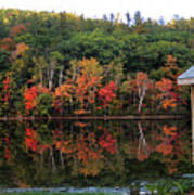 Autumn Reflections And Cabin On Baker Pond Art Print