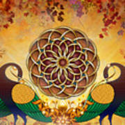Autumn Serenade - Mandala Of The Two Peacocks Art Print by Bedros Awak