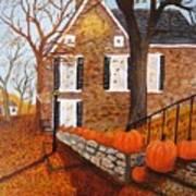 Autumn Stone House Art Print