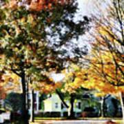 Autumn Street With Yellow House Art Print