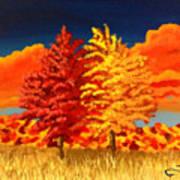 Autumn Twins Art Print