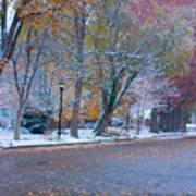 Autumn Winter Street Light Color Art Print