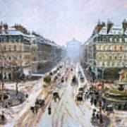 Avenue De L'opera - Effect Of Snow Art Print