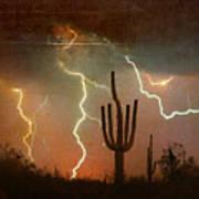 Az Saguaro Lightning Storm Art Print