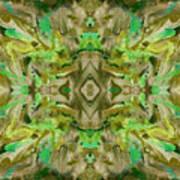 Aztec Kaleidoscope - Pattern 009 - Dark Olive Art Print