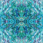 Aztec Kaleidoscope - Pattern 018 - Ocean Art Print