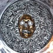 Aztec  Mayan Skull Warrior Calendar Relief Photo Art Print