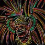 Aztec Skull Warrior Art Print