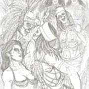 Aztec Warriors With Female Art Print