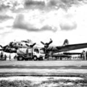 B-17 Bomber Fueling Up In Hdr Art Print