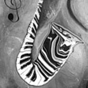 Piano Keys In A Saxophone B/w - Music In Motion Art Print