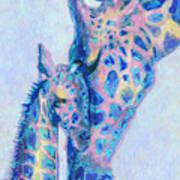 Baby Blue  Giraffes Art Print