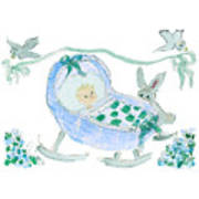 Baby Boy With Bunny And Birds Art Print