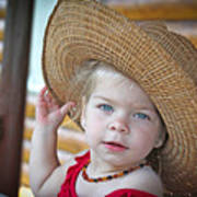 Baby Girl Wearing Straw Hat Art Print