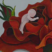 Baby In A Rose Art Print