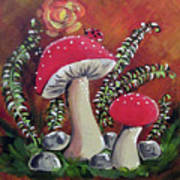 Baby Mushrooms Art Print