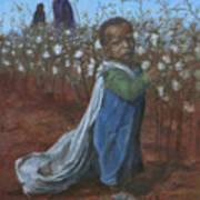 Baby Picking Cotton Art Print