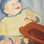 Baby With Baseball Glove Art Print